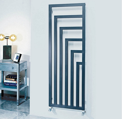 Phoenix Geo Carbon Steel Anthracite Vertical Designer Radiator 1460mm x 520mm Central Heating